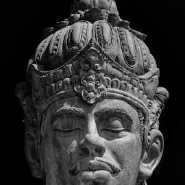 by Jefry Hamjaya - Buildings & Architecture Statues & Monuments ( bali, statue, black and white, wisnu, gwk, garuda wisnu kencana )