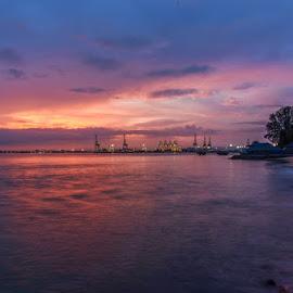 Dawn at Esplanade by Adrian Choo - Landscapes Sunsets & Sunrises ( water, dawn, blue, sunrise, esplanade )