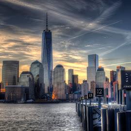 Paulus Hook 2 by Gary Aidekman - City,  Street & Park  Skylines ( pier, manhattan, sunrise, freedom tower, jersey city, hudson river )