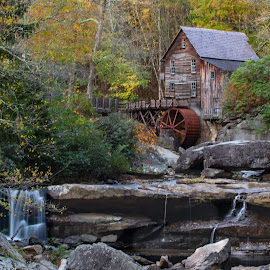 West Virginia Old Mill by Norma Brandsberg - Buildings & Architecture Public & Historical ( old, mountain, photograph, glade creek, west virginia, www.elegantfinephotography.com, rustic, norma brandsberg, photo, hiking, gristmill, nbrandsberg@gmail.com, mill, camping, award winning, vista, photographer, scene, water wheel, virginia, resort, greenbrier,  )
