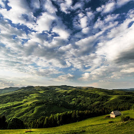Green Fields by Gligor Mihai - Landscapes Mountains & Hills ( hills, sky, green, house, fields )