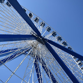 Blue by Steve Hayes - Novices Only Objects & Still Life ( sky, wheel, amusement, blue, circle, ferris wheel )