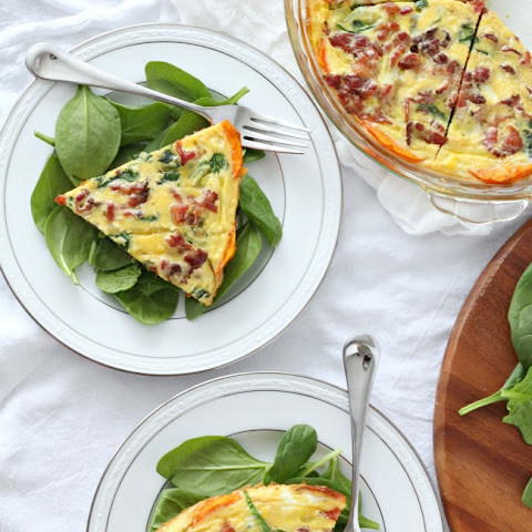Spinach Bacon Quiche with Caramelized Onions & Butternut Crust {Paleo}