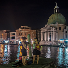 Night Serenade. by Jesus Giraldo - City,  Street & Park  Street Scenes ( water, girls, colors, street, reflections, women, city, lights, musicians, urban, vibrations, buildinds, venice, pier, night,  )