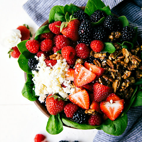 Triple Berry Salad with Candied Pecans