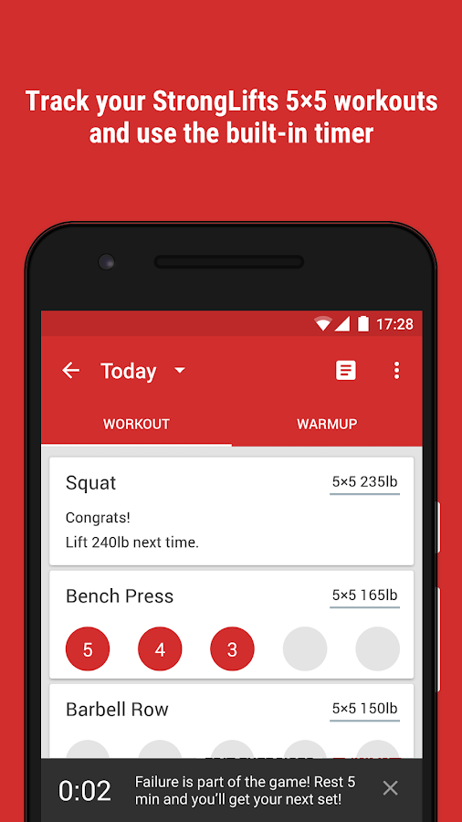 StrongLifts 5x5 Gym Workout Log & Personal Trainer Screenshot 1