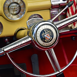 Steering Wheel by Marco Bertamé - Artistic Objects Other Objects ( vintage, chrome, line, buick, round, yellow, circle, eight, sign, red, grandmaster, steering wheel, oldtimer, dynaflow, straight )