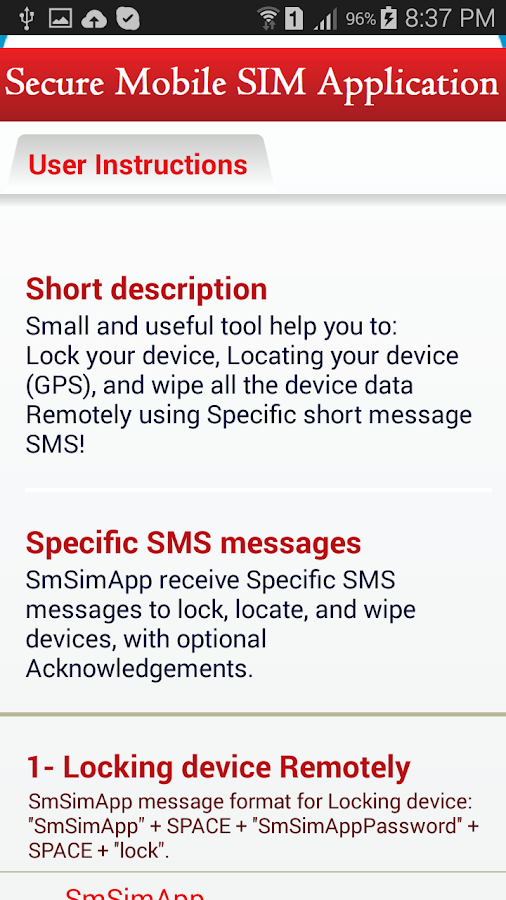 SmSimApp Anti Theft Screenshot 4