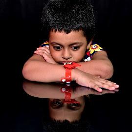 Esha  by Manab Das - Babies & Children Child Portraits ( girl child, reflection, alone )