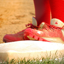 Cleats by Sangeetha Selvaraj - Artistic Objects Clothing & Accessories ( red, baseball, cleats,  )
