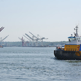 Heading into Port by Shari Linger - Transportation Boats ( ports, tugboat, seattle, boats, ships, downtown,  )
