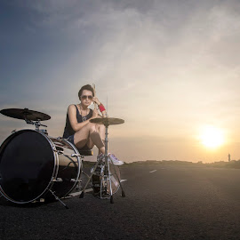 Girl Meets Drums by Felix Erman yudi - People Musicians & Entertainers ( model, band, female, sunset, drummer, musician, instrument, drums, black, roads )