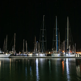 Boats in the harbour by Mark Luyt - Transportation Boats ( harbour, yachts, reflections, night, boats, water,  )