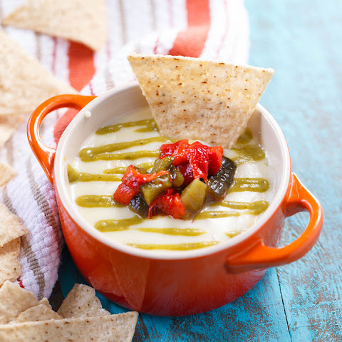 Queso Fundido with Roasted Poblano Sauce