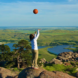 Basketball Is Life by Kathy Suttles - Sports & Fitness Basketball ( basketball, mountain view, oklahoma, basketball life, ontopthe world, mt. scott, baller, shooting )