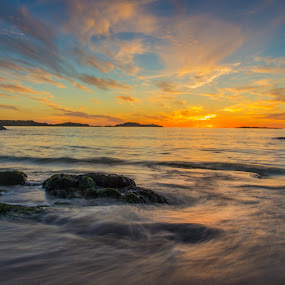 Sunset at Aakrasand #4 by Thomas Sjøen - Landscapes Sunsets & Sunrises ( sunset, beach, åkrehamn, coast, norway )