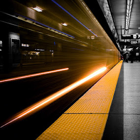 Subway Platform by Ralph Sobanski - Transportation Trains ( ttc, subway, selective, metro, toronto, yellow )