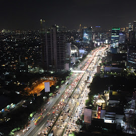 Busy Night at Gatot Subroto by Arie Wibowo - City,  Street & Park  Night