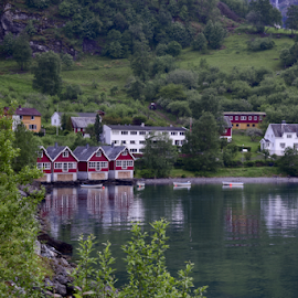 Flam Cabin houses by Sanil Photographys - Buildings & Architecture Homes ( cabin, reflection, floating house, nature, house, flam, fjord, norway )