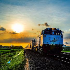Indonesian Train by Shohibul Huda - Transportation Trains ( indonesian, yogyakarta, railway, sunset, train, sunrise, transportation )