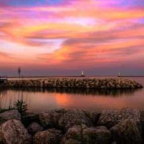 Waiting by James Meyer - Landscapes Sunsets & Sunrises ( water, wisconsin, nature, sunset, lighthouse, sea, lake, seascape, bridge, coast )