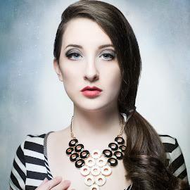 Retrospect by Kerri Jean - People Portraits of Women ( model, eye makeup, long hair, makeup, retro, jewelry, stripes, stripe, modeling, sleek hair, blue eyes, brunette, hair, necklace,  )