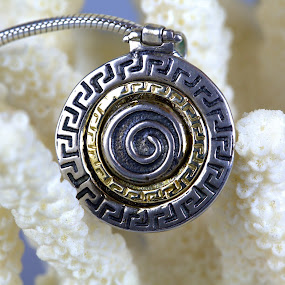 Silver and Gold Pendant by Cal Brown - Artistic Objects Jewelry ( pendant, silver, jewelry, artistic object, gold, close up, necklace,  )