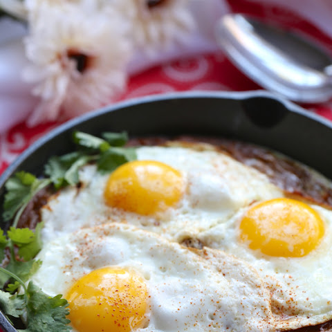 Fried Egg Topped Curried Sweet Potatoes