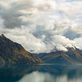 Lake wakatipu Mountains by Perla Tortosa - Landscapes Cloud Formations ( clouds, clouds nature, reflection )