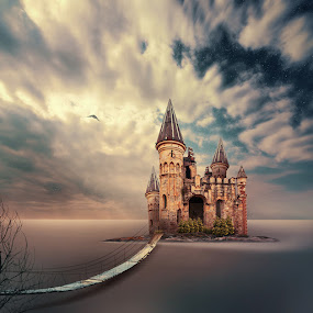 A place without boundaries by Caras Ionut - Digital Art Places ( calm, mystery, wood, door, crow, ocean, storm, psd, sky, tree, cold, dark, long exposure, photoshop, water, clouds, tutorials, windows, manipulation, bird, tower, fly, fog, castle, night, podet, mist )