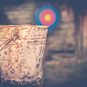 The Bucket List by Andreea Alexe - Artistic Objects Still Life ( countryside, circles, barn, metal, colorful, blue, autumn, bucket, night,  )