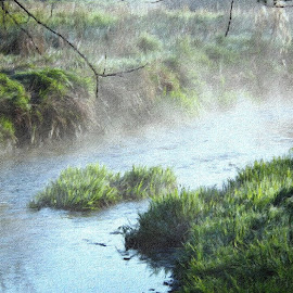 Early One Morning by Roger Booton - Digital Art Places ( rising, nature, bank, morning, early, river, mist )