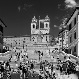 ROME  -  Spanish Steps by Rick Pelletier - City,  Street & Park  Historic Districts