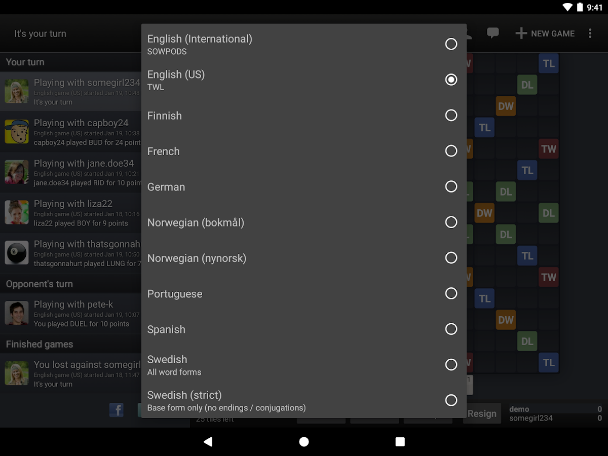 Wordfeud Screenshot 11