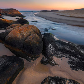 Glow On The Rocks by Geoffrey Wols - Landscapes Beaches ( water, stream, south west rocks, dawn, creek, beach, sunrise, rocks )