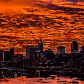 red reflections by Anthony Martinez - City,  Street & Park  Skylines ( skyline, sunset, mississippi river, saint paul )