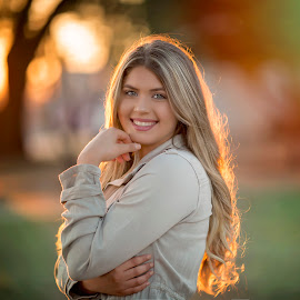 Ociana by Carole Brown - People Portraits of Women ( ombre hair, senior girl, sunset, green eyes, smiling )