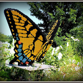 Butterfly Lego by Maritza Féliz - Artistic Objects Other Objects ( butterfly, blue, colorful, yellow, object, garden, lego )