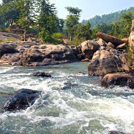 Mountain & Water Fall by Kunal Kumar Maurya - Landscapes Mountains & Hills ( water, mountains, mountain, waterscape, waterfall )