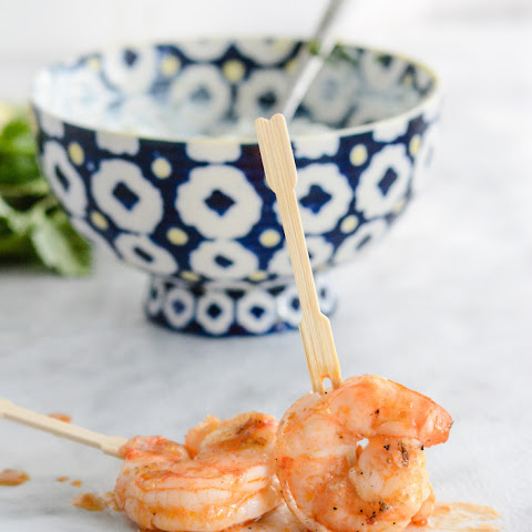 Grilled Buffalo-Barbecue Shrimp with Blue Cheese Dip