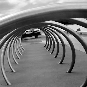 Bike rack by Michael Miller - Novices Only Objects & Still Life ( abstract, life, bike, white, still, rack, black )