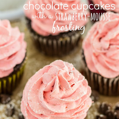 Strawberry Mousse Frosted Chocolate Cupcakes