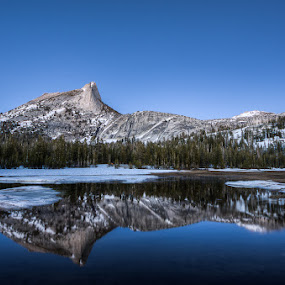 Cathedral Peak by Walter Hsiao - Landscapes Waterscapes ( reflection, yosemite, tuolumne, california, snow, cathedral peak, cathedral lake )