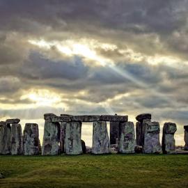 Stonehenge by Tiana McVay - Buildings & Architecture Public & Historical ( england, uk, ancient, stonehenge, stones, historical site, sun rays,  )