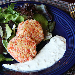Salmon Cakes with Spring Greens and Lemon Caper Sauce