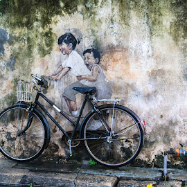 70's Life by Juz AnDy - Transportation Bicycles ( street art, penang, malaysia )