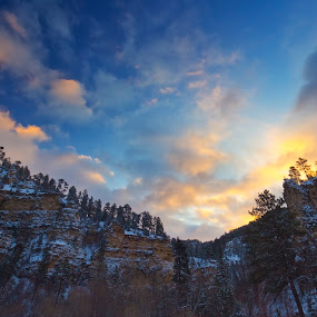 Sunrise Canyon Shadows by Evan Ludes - Landscapes Mountains & Hills ( clouds, dakota, united, spearfish, states, canyon, forest, south dakota, landscape, blue, cloud, trees, south, sunrise )