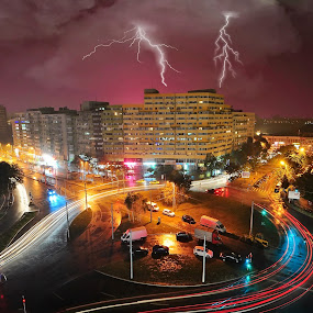 Storm in Pantelimon Neighborhood, Bucharest by Gabriel Tocu - City,  Street & Park  Neighborhoods ( bucharest, street, neighborhood, neighbourhood, city )