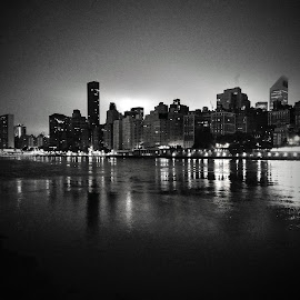 NYC from Roosevelt Island at Night by Chris Gray - Buildings & Architecture Architectural Detail ( water, nyc, city )
