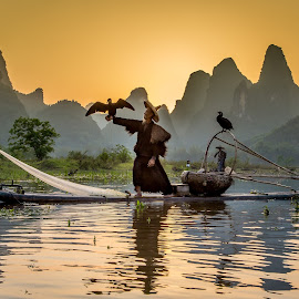 Sunset Li River by David Long - People Professional People ( li river, cormorant fisherman, guilin )